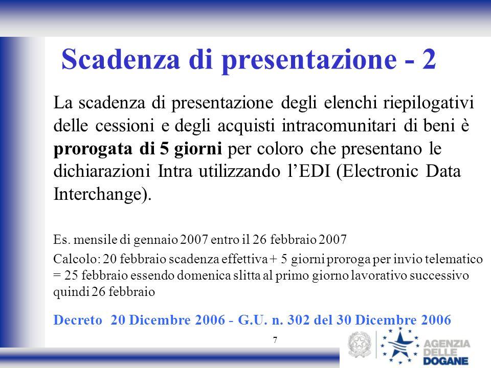 7 Scadenza di presentazione - 2 La scadenza di presentazione degli elenchi riepilogativi delle cessioni e degli acquisti intracomunitari di beni è pro