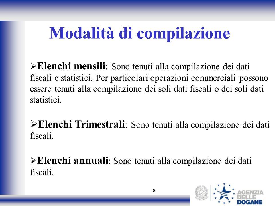 8 Modalità di compilazione Elenchi mensili : Sono tenuti alla compilazione dei dati fiscali e statistici. Per particolari operazioni commerciali posso