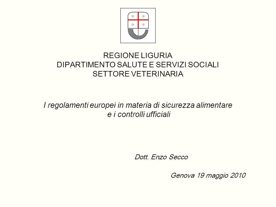 REGIONE LIGURIA DIPARTIMENTO SALUTE E SERVIZI SOCIALI SETTORE VETERINARIA I regolamenti europei in materia di sicurezza alimentare e i controlli ufficiali Dott.