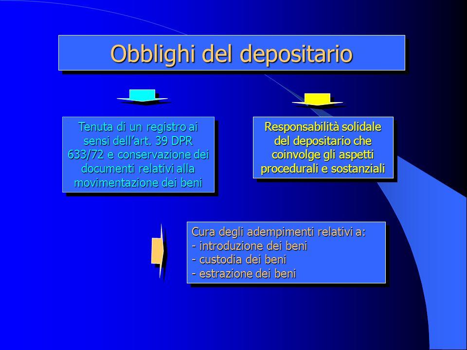 Obblighi del depositario Tenuta di un registro ai sensi dellart. 39 DPR 633/72 e conservazione dei documenti relativi alla movimentazione dei beni Cur