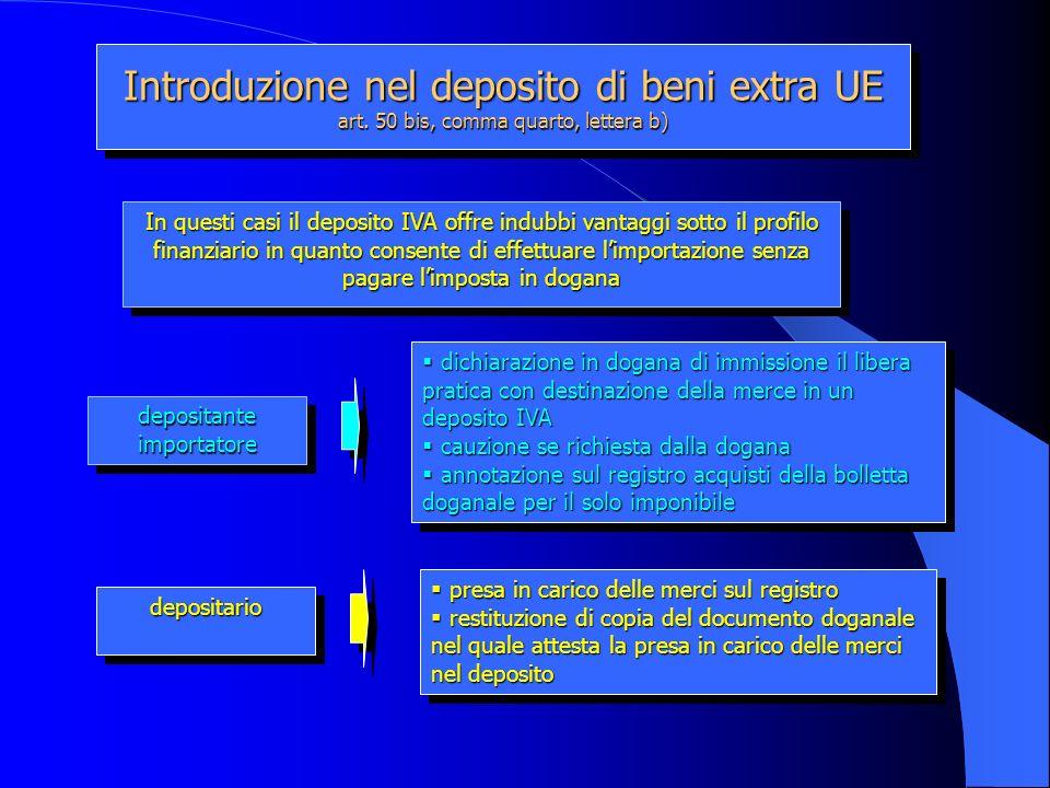 Introduzione nel deposito di beni extra UE art. 50 bis, comma quarto, lettera b) depositante importatore depositariodepositario dichiarazione in dogan