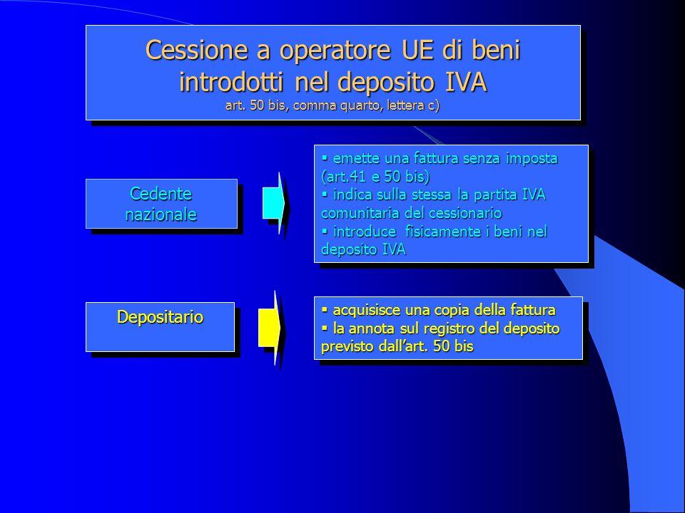 Cessione a operatore UE di beni introdotti nel deposito IVA art. 50 bis, comma quarto, lettera c) Cedente nazionale Depositario Depositario emette una