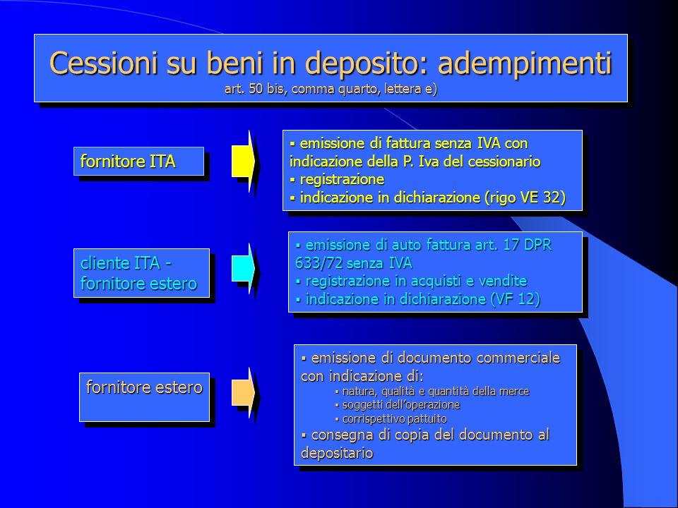 Cessioni su beni in deposito: adempimenti art. 50 bis, comma quarto, lettera e) fornitore ITA cliente ITA - fornitore estero emissione di fattura senz