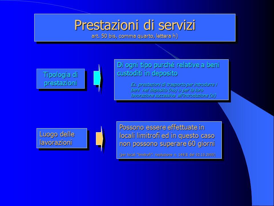 Prestazioni di servizi art. 50 bis, comma quarto, lettera h) Tipologia di prestazioni Luogo delle lavorazioni Di ogni tipo purché relative a beni cust