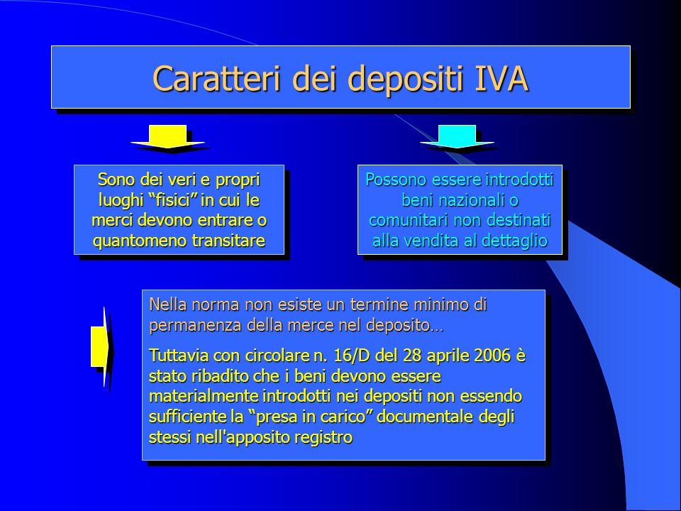 Caratteri dei depositi IVA Sono dei veri e propri luoghi fisici in cui le merci devono entrare o quantomeno transitare Possono essere introdotti beni