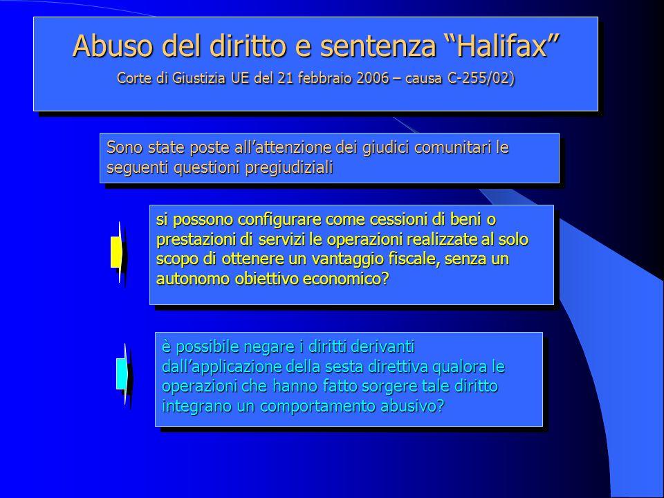 Abuso del diritto e sentenza Halifax Corte di Giustizia UE del 21 febbraio 2006 – causa C-255/02) si possono configurare come cessioni di beni o prest