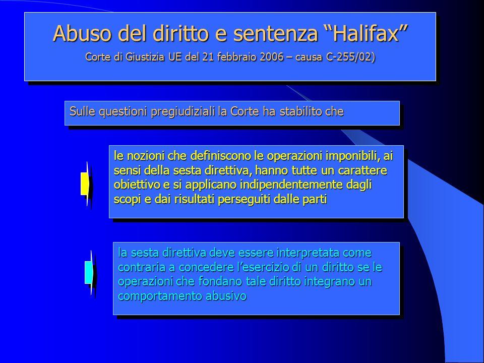 Abuso del diritto e sentenza Halifax Corte di Giustizia UE del 21 febbraio 2006 – causa C-255/02) le nozioni che definiscono le operazioni imponibili,