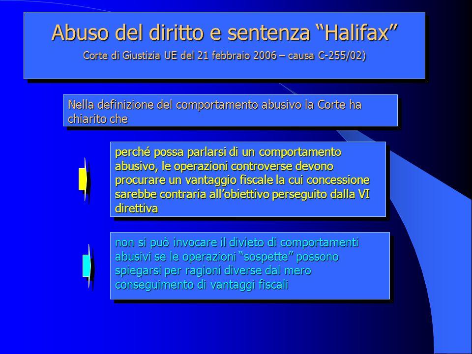 Abuso del diritto e sentenza Halifax Corte di Giustizia UE del 21 febbraio 2006 – causa C-255/02) perché possa parlarsi di un comportamento abusivo, l