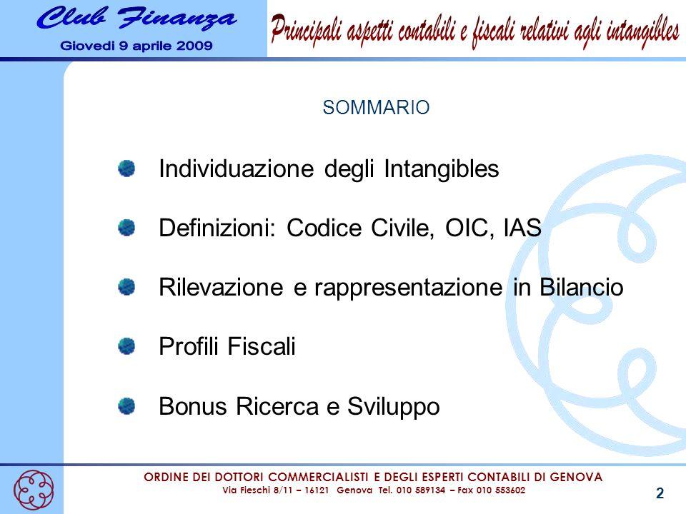 ORDINE DEI DOTTORI COMMERCIALISTI E DEGLI ESPERTI CONTABILI DI GENOVA Via Fieschi 8/11 – 16121 Genova Tel. 010 589134 – Fax 010 553602 2 SOMMARIO Indi