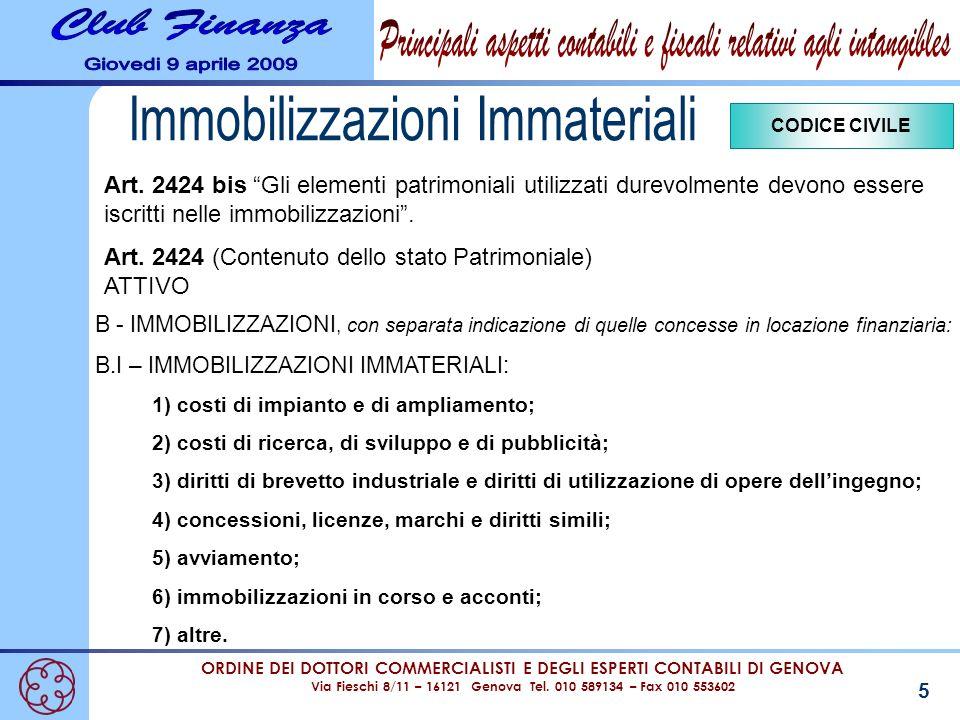 ORDINE DEI DOTTORI COMMERCIALISTI E DEGLI ESPERTI CONTABILI DI GENOVA Via Fieschi 8/11 – 16121 Genova Tel. 010 589134 – Fax 010 553602 5 B - IMMOBILIZ