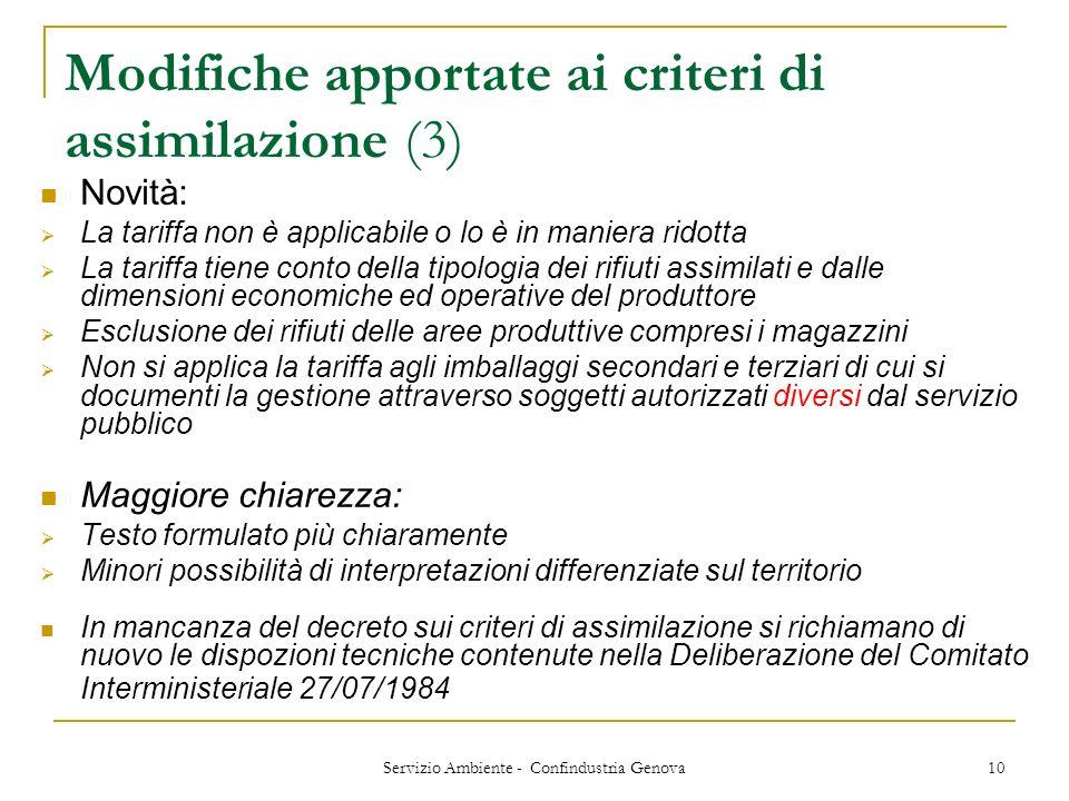 Servizio Ambiente - Confindustria Genova 10 Modifiche apportate ai criteri di assimilazione (3) Novità: La tariffa non è applicabile o lo è in maniera