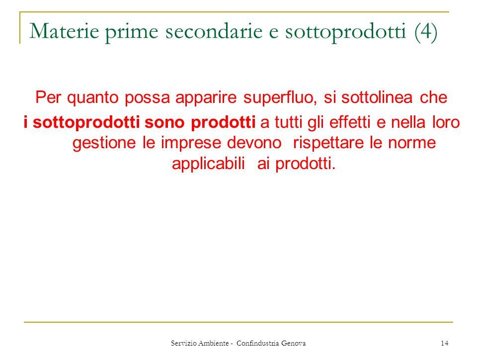 Servizio Ambiente - Confindustria Genova 14 Materie prime secondarie e sottoprodotti (4) Per quanto possa apparire superfluo, si sottolinea che i sott