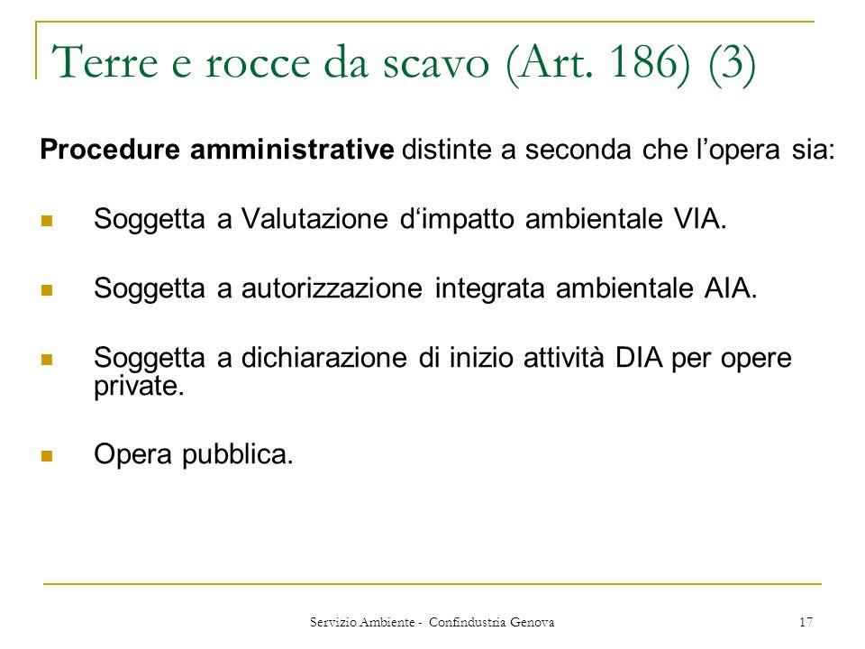 Servizio Ambiente - Confindustria Genova 17 Terre e rocce da scavo (Art. 186) (3) Procedure amministrative distinte a seconda che lopera sia: Soggetta