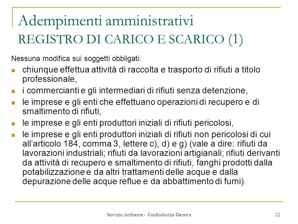 Servizio Ambiente - Confindustria Genova 22 Adempimenti amministrativi REGISTRO DI CARICO E SCARICO (1) Nessuna modifica sui soggetti obbligati: chiun