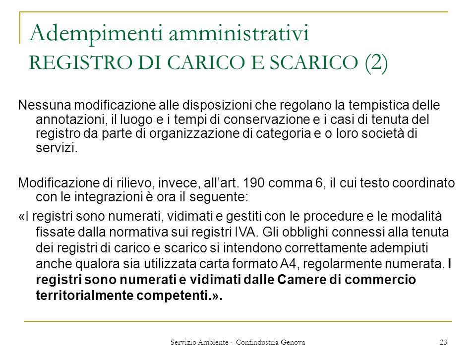 Servizio Ambiente - Confindustria Genova 23 Adempimenti amministrativi REGISTRO DI CARICO E SCARICO (2) Nessuna modificazione alle disposizioni che re