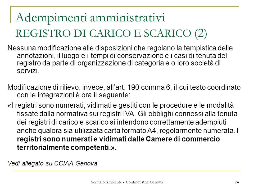 Servizio Ambiente - Confindustria Genova 24 Adempimenti amministrativi REGISTRO DI CARICO E SCARICO (2) Nessuna modificazione alle disposizioni che re