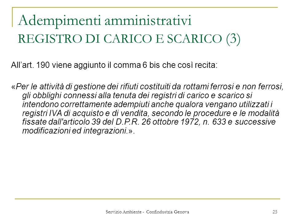 Servizio Ambiente - Confindustria Genova 25 Adempimenti amministrativi REGISTRO DI CARICO E SCARICO (3) Allart. 190 viene aggiunto il comma 6 bis che