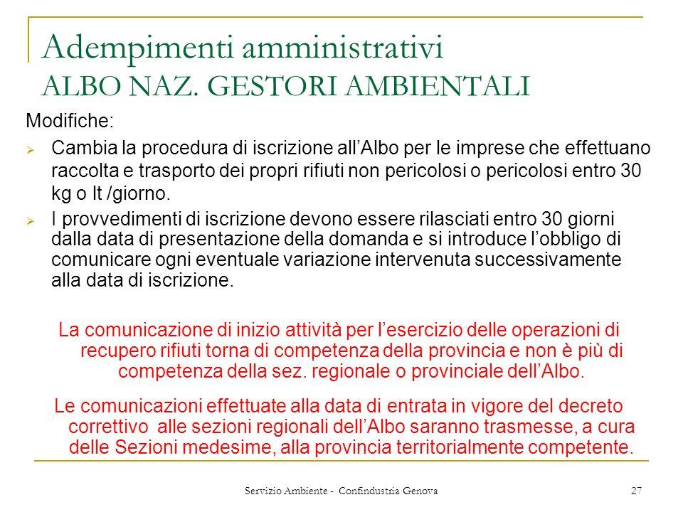 Servizio Ambiente - Confindustria Genova 27 Adempimenti amministrativi ALBO NAZ. GESTORI AMBIENTALI Modifiche: Cambia la procedura di iscrizione allAl