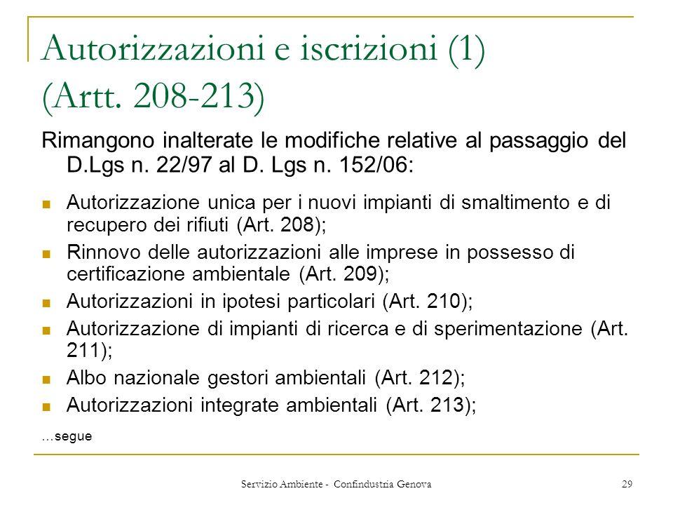 Servizio Ambiente - Confindustria Genova 29 Autorizzazioni e iscrizioni (1) (Artt. 208-213) Rimangono inalterate le modifiche relative al passaggio de
