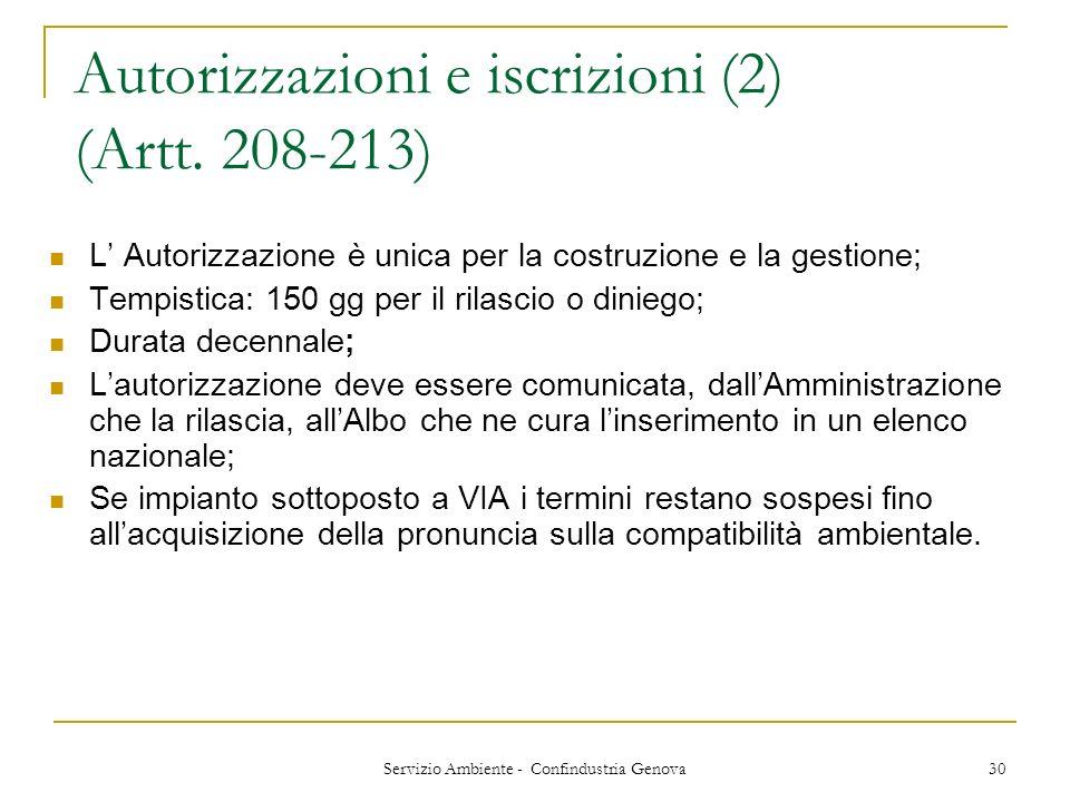 Servizio Ambiente - Confindustria Genova 30 Autorizzazioni e iscrizioni (2) (Artt. 208-213) L Autorizzazione è unica per la costruzione e la gestione;
