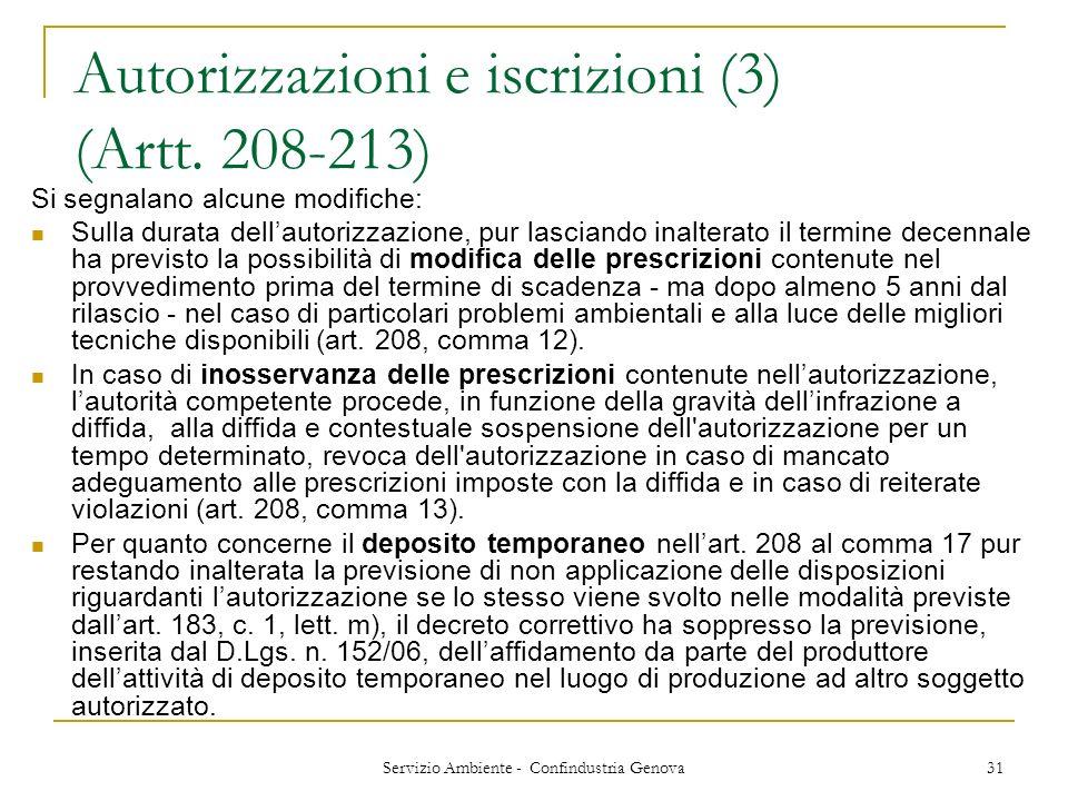 Servizio Ambiente - Confindustria Genova 31 Autorizzazioni e iscrizioni (3) (Artt. 208-213) Si segnalano alcune modifiche: Sulla durata dellautorizzaz