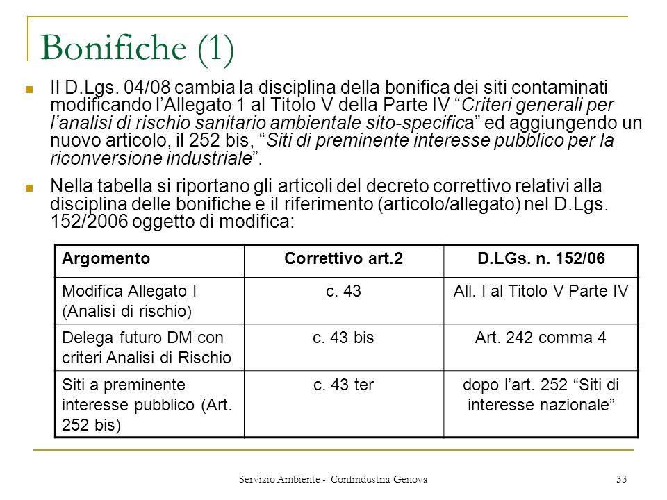 Servizio Ambiente - Confindustria Genova 33 Bonifiche (1) Il D.Lgs. 04/08 cambia la disciplina della bonifica dei siti contaminati modificando lAllega