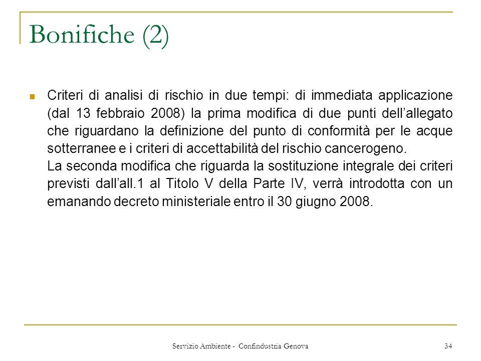 Servizio Ambiente - Confindustria Genova 34 Bonifiche (2) Criteri di analisi di rischio in due tempi: di immediata applicazione (dal 13 febbraio 2008)