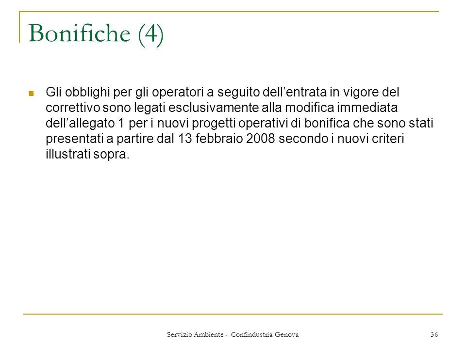 Servizio Ambiente - Confindustria Genova 36 Bonifiche (4) Gli obblighi per gli operatori a seguito dellentrata in vigore del correttivo sono legati es