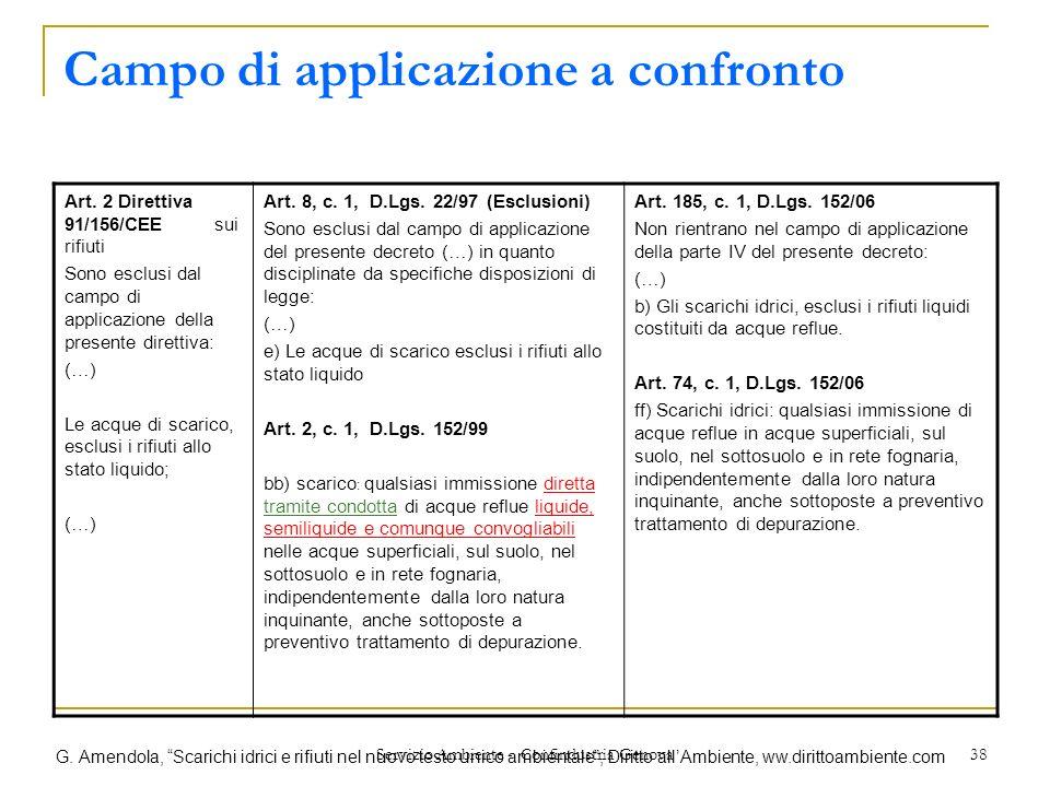 Servizio Ambiente - Confindustria Genova 38 Campo di applicazione a confronto Art. 2 Direttiva 91/156/CEE sui rifiuti Sono esclusi dal campo di applic