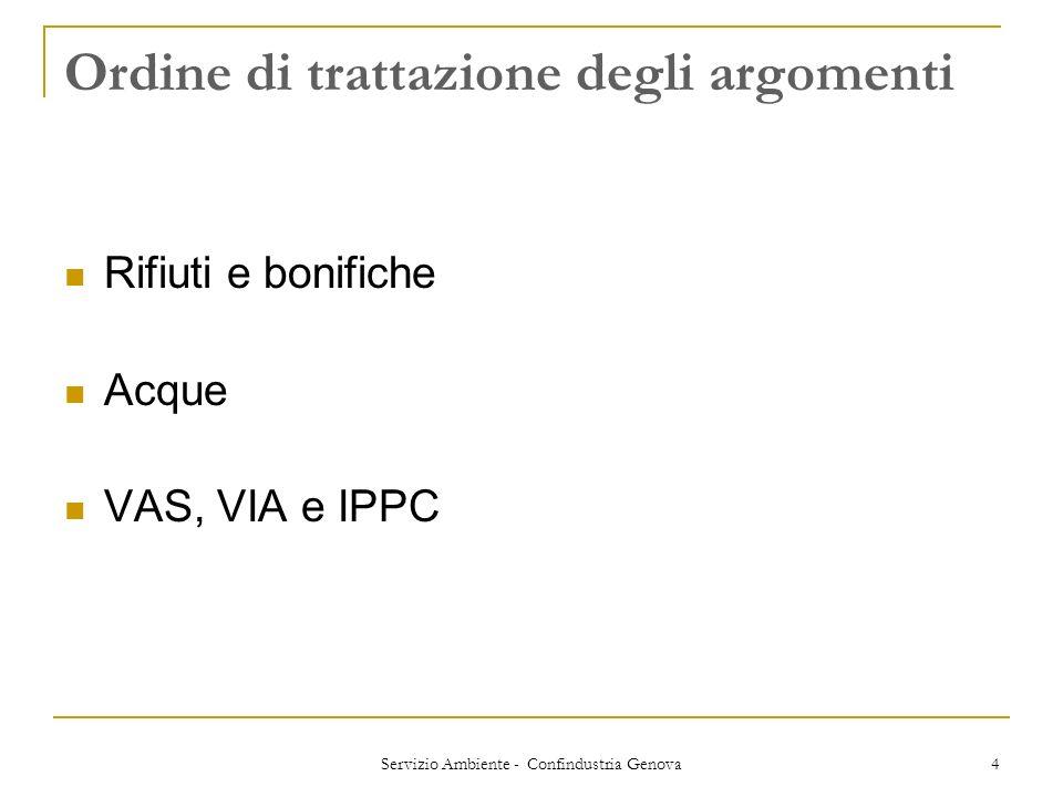 Servizio Ambiente - Confindustria Genova 4 Ordine di trattazione degli argomenti Rifiuti e bonifiche Acque VAS, VIA e IPPC