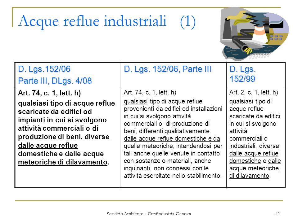 Servizio Ambiente - Confindustria Genova 41 Acque reflue industriali (1) D. Lgs.152/06 Parte III, DLgs. 4/08 D. Lgs. 152/06, Parte III D. Lgs. 152/99