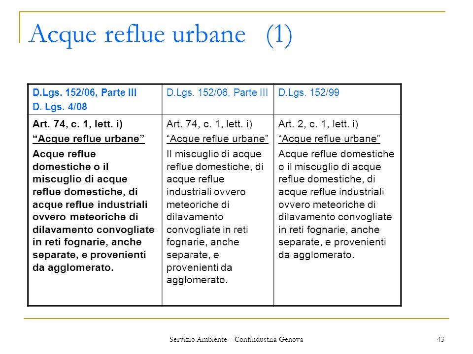 Servizio Ambiente - Confindustria Genova 43 Acque reflue urbane(1) D.Lgs. 152/06, Parte III D. Lgs. 4/08 D.Lgs. 152/06, Parte IIID.Lgs. 152/99 Art. 74