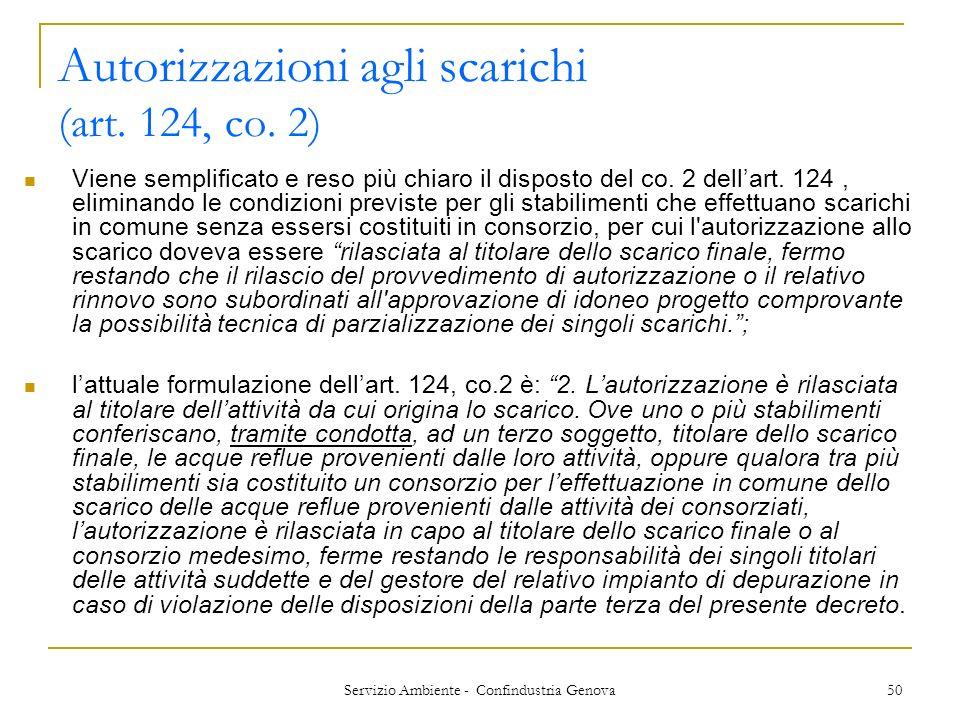 Servizio Ambiente - Confindustria Genova 50 Autorizzazioni agli scarichi (art. 124, co. 2) Viene semplificato e reso più chiaro il disposto del co. 2