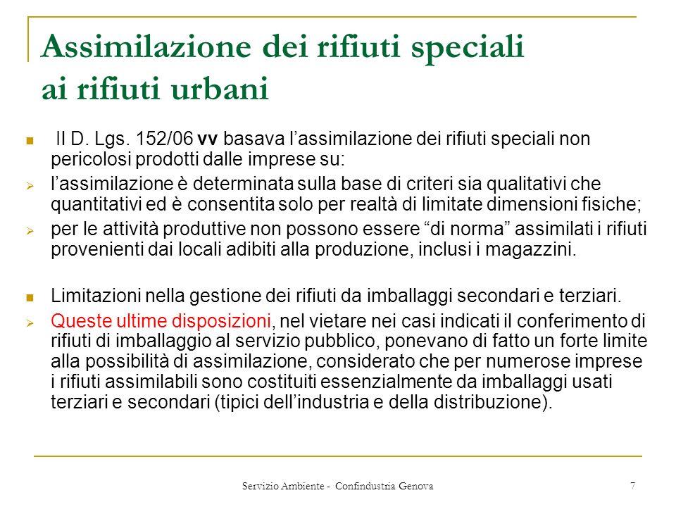 Servizio Ambiente - Confindustria Genova 7 Assimilazione dei rifiuti speciali ai rifiuti urbani Il D. Lgs. 152/06 vv basava lassimilazione dei rifiuti
