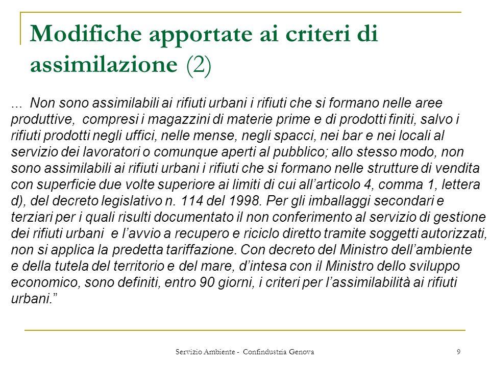 Servizio Ambiente - Confindustria Genova 9 Modifiche apportate ai criteri di assimilazione (2) … Non sono assimilabili ai rifiuti urbani i rifiuti che