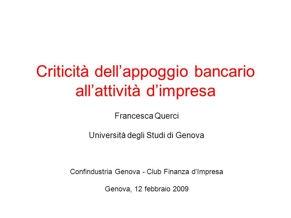 Criticità dellappoggio bancario allattività dimpresa Francesca Querci Università degli Studi di Genova Confindustria Genova - Club Finanza dImpresa Genova, 12 febbraio 2009