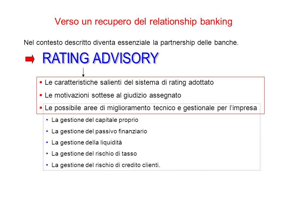 Verso un recupero del relationship banking Nel contesto descritto diventa essenziale la partnership delle banche.