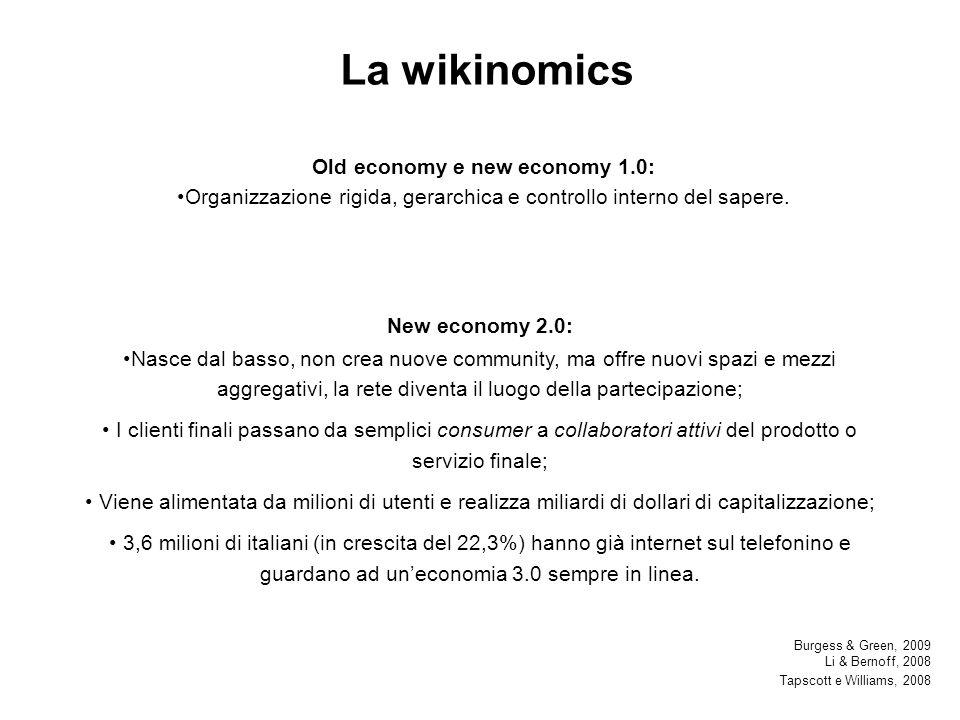 La wikinomics Old economy e new economy 1.0: Organizzazione rigida, gerarchica e controllo interno del sapere.