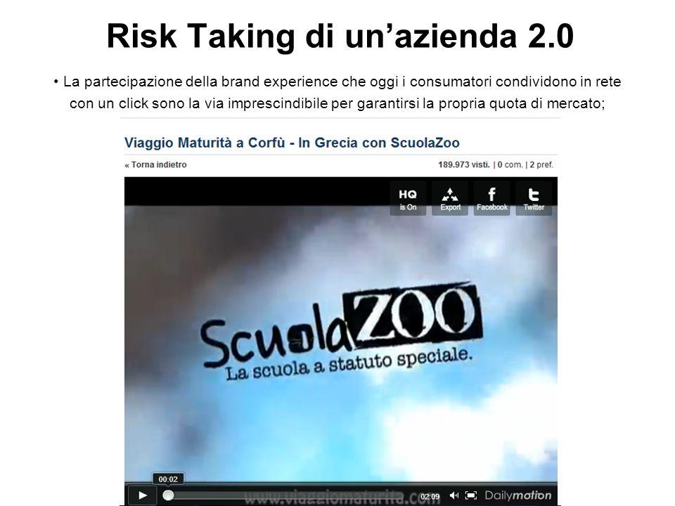Risk Taking di unazienda 2.0 La partecipazione della brand experience che oggi i consumatori condividono in rete con un click sono la via imprescindibile per garantirsi la propria quota di mercato;.
