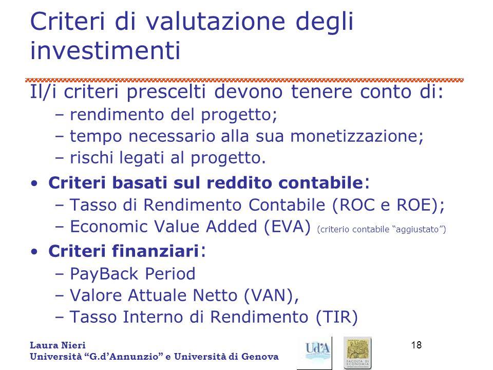 Laura Nieri Università G.dAnnunzio e Università di Genova 18 Criteri di valutazione degli investimenti Il/i criteri prescelti devono tenere conto di: