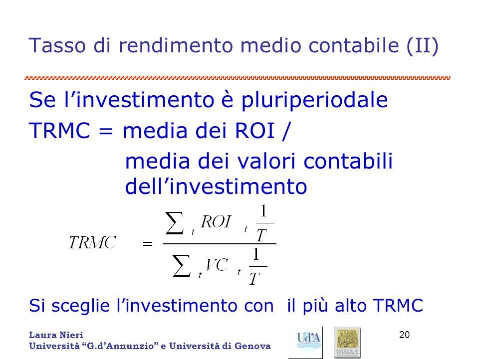 Laura Nieri Università G.dAnnunzio e Università di Genova 20 Tasso di rendimento medio contabile (II) Se linvestimento è pluriperiodale TRMC = media d