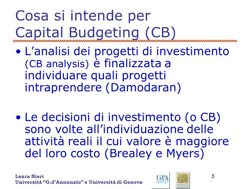Laura Nieri Università G.dAnnunzio e Università di Genova 3 Cosa si intende per Capital Budgeting (CB) Lanalisi dei progetti di investimento (CB analy