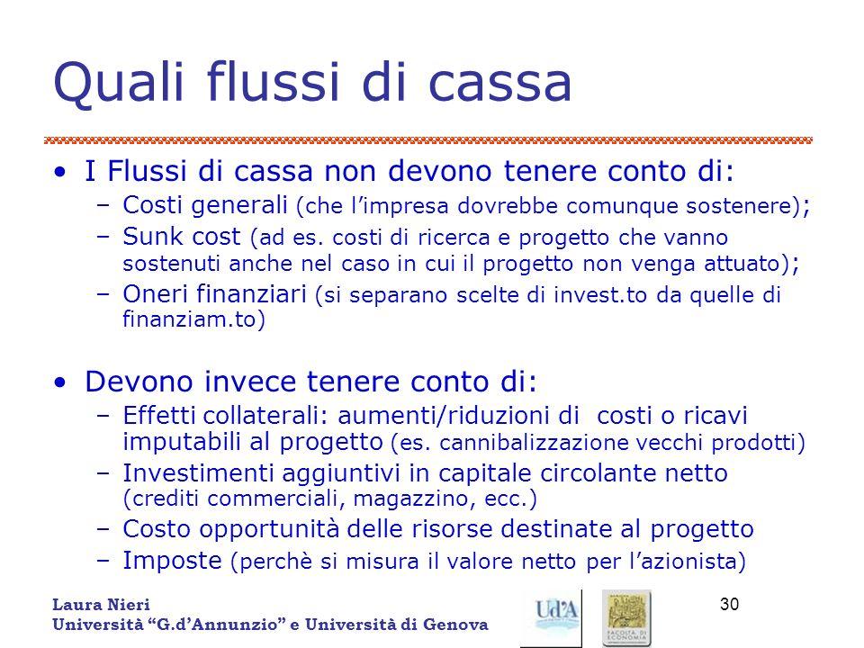 Laura Nieri Università G.dAnnunzio e Università di Genova 30 Quali flussi di cassa I Flussi di cassa non devono tenere conto di: –Costi generali (che
