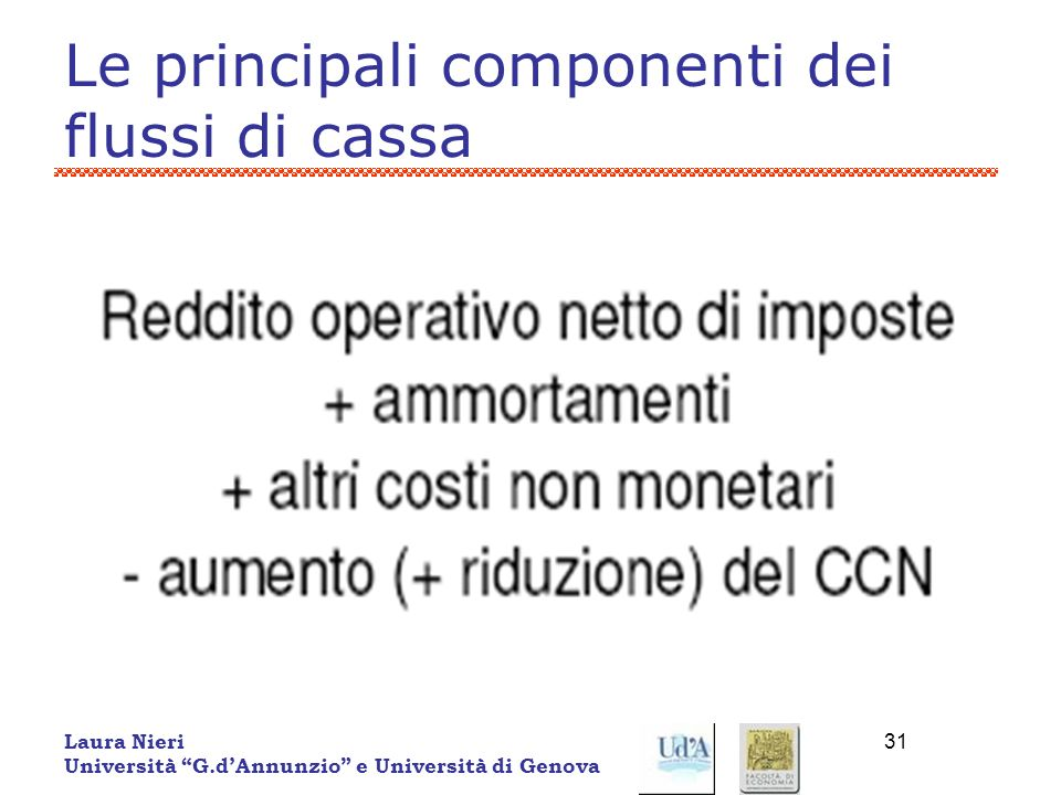 Laura Nieri Università G.dAnnunzio e Università di Genova 31 Le principali componenti dei flussi di cassa