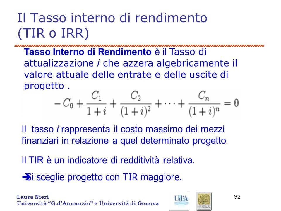 Laura Nieri Università G.dAnnunzio e Università di Genova 32 Il Tasso interno di rendimento (TIR o IRR) Tasso Interno di Rendimento è il Tasso di attu