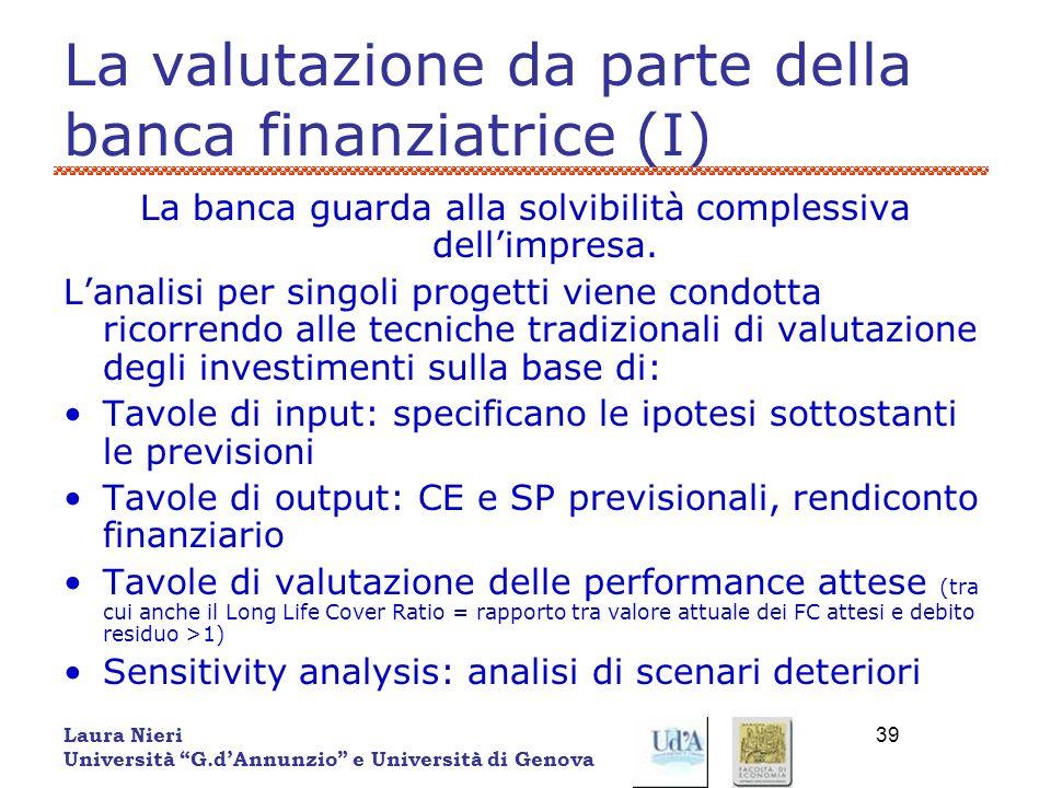Laura Nieri Università G.dAnnunzio e Università di Genova 39 La valutazione da parte della banca finanziatrice (I) La banca guarda alla solvibilità co