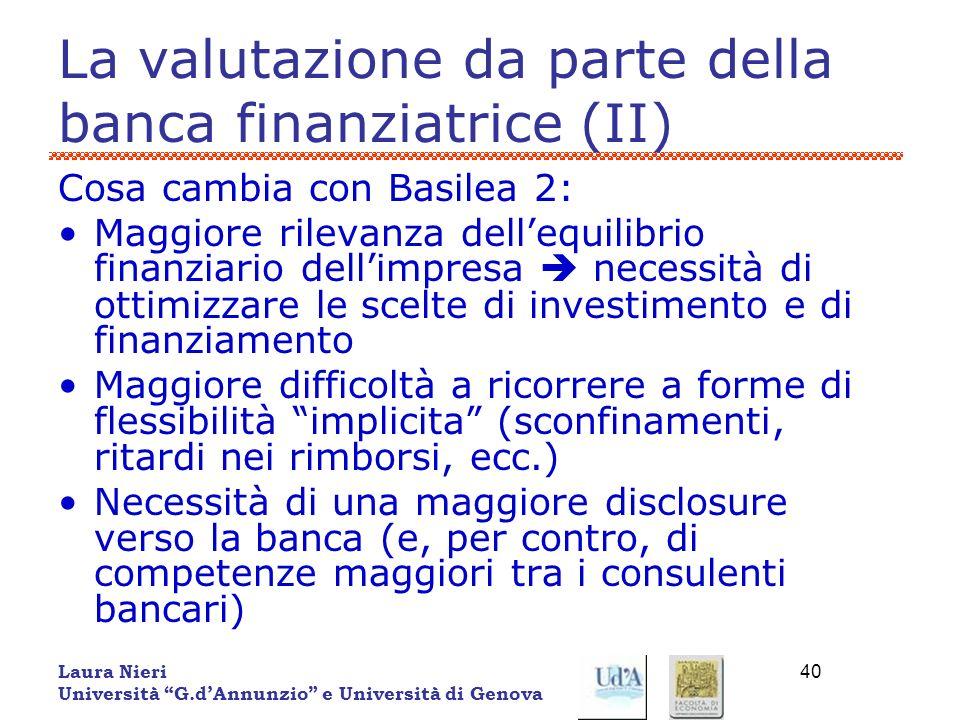 Laura Nieri Università G.dAnnunzio e Università di Genova 40 La valutazione da parte della banca finanziatrice (II) Cosa cambia con Basilea 2: Maggior