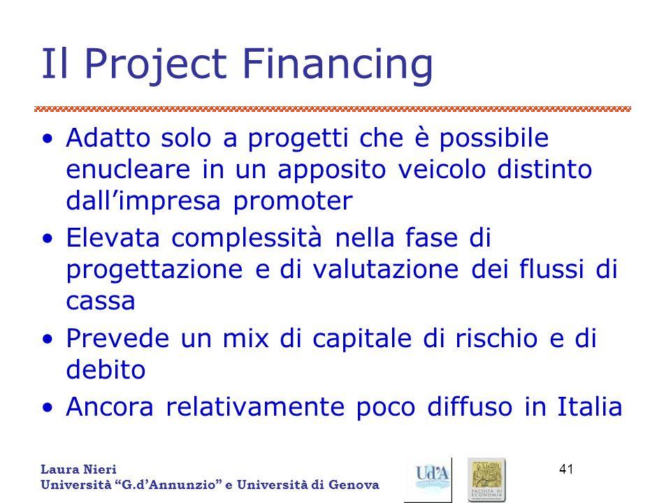 Laura Nieri Università G.dAnnunzio e Università di Genova 41 Il Project Financing Adatto solo a progetti che è possibile enucleare in un apposito veic