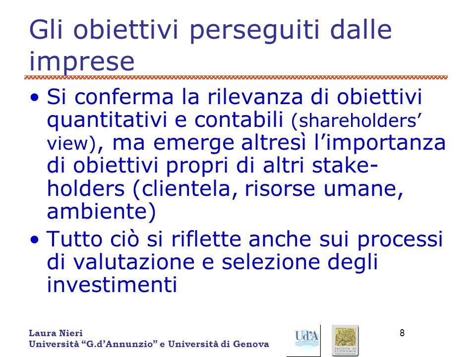 Laura Nieri Università G.dAnnunzio e Università di Genova 8 Gli obiettivi perseguiti dalle imprese Si conferma la rilevanza di obiettivi quantitativi