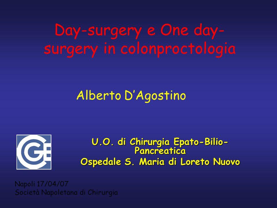 U.O. di Chirurgia Epato-Bilio- Pancreatica Ospedale S. Maria di Loreto Nuovo Day-surgery e One day- surgery in colonproctologia Alberto DAgostino Napo